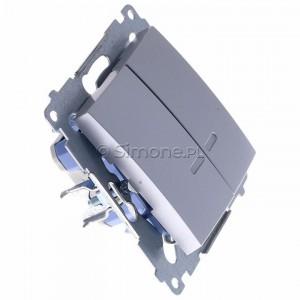 Simon 54 DW5BL.01/43 - Łącznik podwójny do wersji IP44 z podświetleniem typu LED w kolorze niebieskim 10A - Srebrny Mat - Podgląd zdjęcia 360st. nr 2