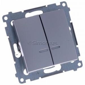 Simon 54 DW5BL.01/43 - Łącznik podwójny do wersji IP44 z podświetleniem typu LED w kolorze niebieskim 10A - Srebrny Mat - Podgląd zdjęcia 360st. nr 1
