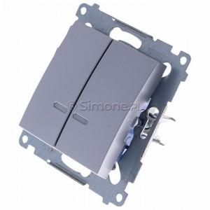 Simon 54 DW5BL.01/43 - Łącznik podwójny do wersji IP44 z podświetleniem typu LED w kolorze niebieskim 10A - Srebrny Mat - Podgląd zdjęcia 360st. nr 7