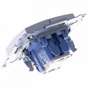 Simon 54 DW5BL.01/43 - Łącznik podwójny do wersji IP44 z podświetleniem typu LED w kolorze niebieskim 10A - Srebrny Mat - Podgląd zdjęcia 360st. nr 5
