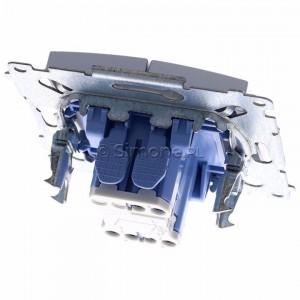 Simon 54 DW5BL.01/43 - Łącznik podwójny do wersji IP44 z podświetleniem typu LED w kolorze niebieskim 10A - Srebrny Mat - Podgląd zdjęcia 360st. nr 4