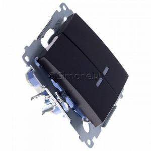Simon 54 DW5BL.01/48 - Łącznik podwójny do wersji IP44 z podświetleniem typu LED w kolorze niebieskim 10A - Antracyt - Podgląd zdjęcia 360st. nr 2