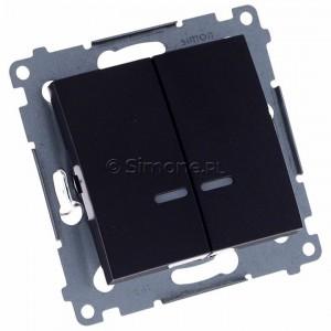 Simon 54 DW5BL.01/48 - Łącznik podwójny do wersji IP44 z podświetleniem typu LED w kolorze niebieskim 10A - Antracyt - Podgląd zdjęcia 360st. nr 1