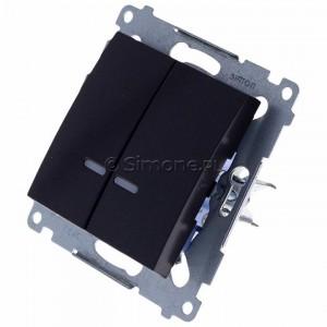 Simon 54 DW5BL.01/48 - Łącznik podwójny do wersji IP44 z podświetleniem typu LED w kolorze niebieskim 10A - Antracyt - Podgląd zdjęcia 360st. nr 7