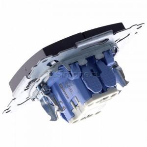 Simon 54 DW5BL.01/48 - Łącznik podwójny do wersji IP44 z podświetleniem typu LED w kolorze niebieskim 10A - Antracyt - Podgląd zdjęcia 360st. nr 5