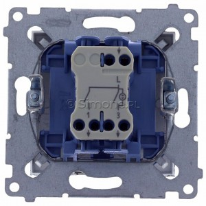 Simon 54 DW5BL.01/48 - Łącznik podwójny do wersji IP44 z podświetleniem typu LED w kolorze niebieskim 10A - Antracyt - Podgląd zdjęcia 360st. nr 9