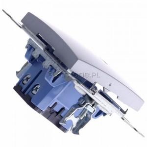 Simon 54 DW6AL.01/43 - Łącznik schodowy z podświetleniem typu LED w kolorze niebieskim 16A - Srebrny Mat - Podgląd zdjęcia 360st. nr 3