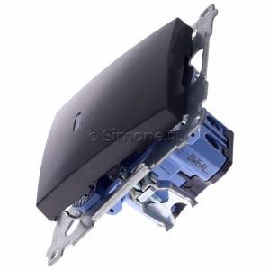 Simon 54 DW6AL.01/48 - Łącznik schodowy z podświetleniem typu LED w kolorze niebieskim 16A - Antracyt - Podgląd zdjęcia 360st. nr 6