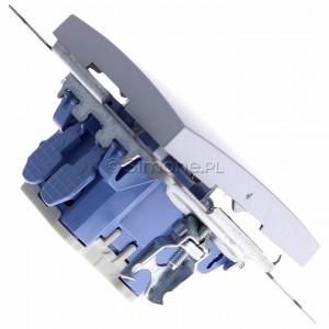 Simon 54 DW6L.01/43 - Łącznik schodowy z podświetleniem typu LED w kolorze niebieskim 10A - Srebrny Mat - Podgląd zdjęcia 360st. nr 3