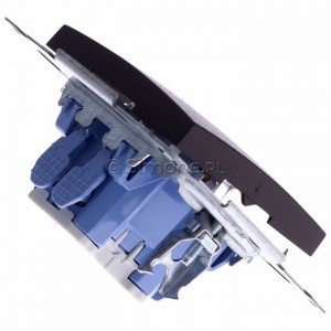 Simon 54 DW7L.01/46 - Łącznik krzyżowy z podświetleniem typu LED w kolorze niebieskim - Brąz Mat - Podgląd zdjęcia 360st. nr 3