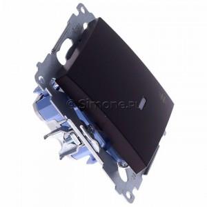 Simon 54 DW7L.01/46 - Łącznik krzyżowy z podświetleniem typu LED w kolorze niebieskim - Brąz Mat - Podgląd zdjęcia 360st. nr 2