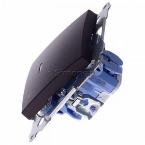 Simon 54 DW7L.01/46 - Łącznik krzyżowy z podświetleniem typu LED w kolorze niebieskim - Brąz Mat - Podgląd zdjęcia 360st. nr 6