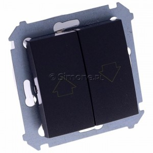 Simon 54 DZP1W.01/48 - Przycisk żaluzjowy do sterowania jedną roletą z wielu miejsc, impulsowy - Antracyt - Podgląd zdjęcia 360st. nr 1