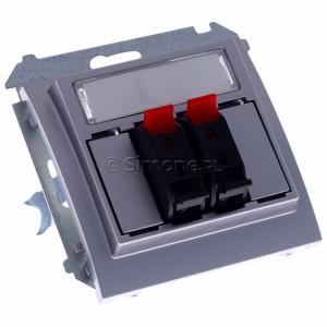 Simon Classic MGL3.01/26 - Gniazdo głośnikowe podwójne z możliwością rozbudowy do 4-krotnego (Mechanizm + Plakietka) - Aluminiowy Met. - Podgląd zdjęcia 360st. nr 1