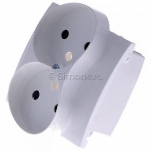 Simon Classic MGZ2MzP/11 - Pokrywa gniazda podwójnego z bolcem uziemiającym i przesłonami torów prądowych - Biały - Podgląd zdjęcia 360st. nr 7