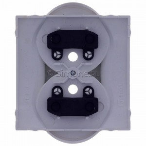 Simon Classic MGZ2MzP/11 - Pokrywa gniazda podwójnego z bolcem uziemiającym i przesłonami torów prądowych - Biały - Podgląd zdjęcia 360st. nr 9