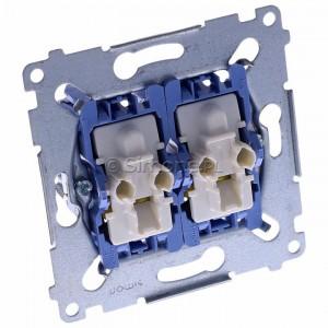 Simon 54 SW6/2XLM - Mechanizm łącznika schodowego podwójnego z podświetleniem LED 10A (niezależny układ podświetlający dla każdego z klawiszy, do kompletu należy dokupić rameczkę oraz klawisze) - Mechanizmy - Podgląd zdjęcia 360st. nr 1