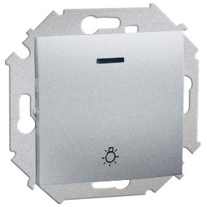 Simon 15 1591161-026 - Przycisk zwierny światło z podświetleniem - Aluminium - Podgląd zdjęcia nr 1