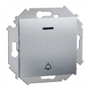 Simon 15 1591162-026 - Przycisk zwierny dzwonek z podświetleniem - Aluminium - Podgląd zdjęcia nr 1