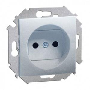 Simon 15 1591414-026 - Gniazdo pojedyncze bez bolca uziemiającego z przesłonami torów prądowych - Aluminium - Podgląd zdjęcia nr 1