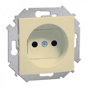 Simon 15 1591414-031 - Gniazdo pojedyncze bez bolca uziemiającego z przesłonami torów prądowych - Beżowy - Podgląd zdjęcia nr 1