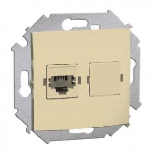 Simon 15 1591531-031 - Gniazdo telefoniczne RJ12 pojedyncze - Beżowy - Podgląd zdjęcia nr 1
