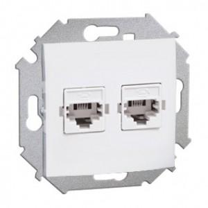 Simon 15 1591532-030 - Gniazdo telefoniczne RJ12 podwójne - Biały - Podgląd zdjęcia nr 1