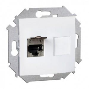 Simon 15 1591553-030 - Gniazdo komputerowe pojedyncze 1xRJ45 kat.5e ekranowane z przesłoną przeciwkurzową - Biały - Podgląd zdjęcia nr 1