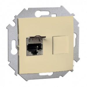 Simon 15 1591553-031 - Gniazdo komputerowe pojedyncze 1xRJ45 kat.5e ekranowane z przesłoną przeciwkurzową - Beżowy - Podgląd zdjęcia nr 1