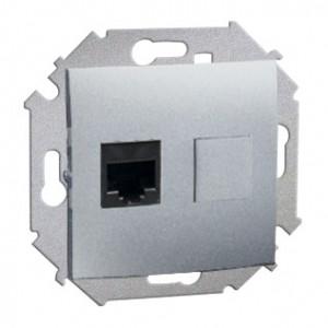 Simon 15 1591561-026 - Gniazdo komputerowe pojedyncze 1xRJ45 kat.6 - Aluminium - Podgląd zdjęcia nr 1