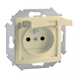 Simon 15 1591950-031 - Gniazdo hermetyczne pojedyncze IP44 z bolcem uziemiającym, przesłonami torów prądowych z klapką w kolorze wyrobu - Beżowy - Podgląd zdjęcia nr 1