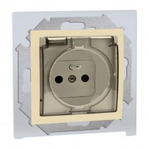 Simon 15 1591950-031A - Gniazdo hermetyczne pojedyncze IP44 z bolcem uziemiającym, przesłonami torów prądowych i klapką transparentną - Beżowy - Podgląd zdjęcia nr 1