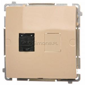 Simon Basic BM61.01/12 - Gniazdo komputerowe pojedyncze 1xRJ45 kat.6 z przesłoną przeciwkurzową - Beżowy - Podgląd zdjęcia nr 1