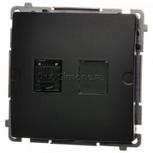 Simon Basic BM61.01/28 - Gniazdo komputerowe pojedyncze 1xRJ45 kat.6 z przesłoną przeciwkurzową - Grafit Mat. - Podgląd zdjęcia nr 1