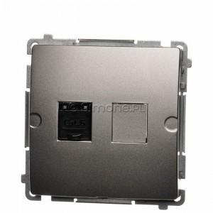 Simon Basic BM61.01/29 - Gniazdo komputerowe pojedyncze 1xRJ45 kat.6 z przesłoną przeciwkurzową - Satynowy Met. - Podgląd zdjęcia nr 1