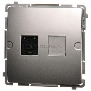 Simon Basic BM61.01/43 - Gniazdo komputerowe pojedyncze 1xRJ45 kat.6 z przesłoną przeciwkurzową - Srebrny Mat. - Podgląd zdjęcia nr 1