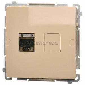 Simon Basic BM61E.01/12 - Gniazdo komputerowe pojedyncze 1xRJ45 kat.6 ekranowane z przesłoną przeciwkurzową - Beżowy - Podgląd zdjęcia nr 1
