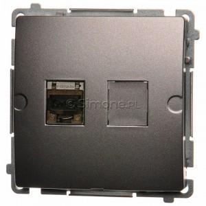 Simon Basic BM61E.01/21 - Gniazdo komputerowe pojedyncze 1xRJ45 kat.6 ekranowane z przesłoną przeciwkurzową - Inox Met. - Podgląd zdjęcia nr 1