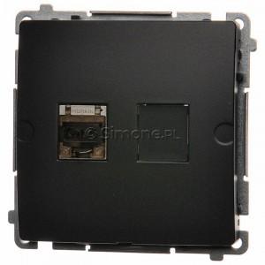 Simon Basic BM61E.01/28 - Gniazdo komputerowe pojedyncze 1xRJ45 kat.6 ekranowane z przesłoną przeciwkurzową - Grafit Mat. - Podgląd zdjęcia nr 1