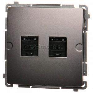 Simon Basic BM62.01/21 - Gniazdo komputerowe podwójne 2xRJ45 kat.6 z przesłoną przeciwkurzową - Inox Met. - Podgląd zdjęcia nr 1