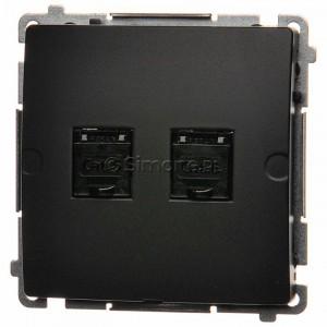 Simon Basic BM62.01/28 - Gniazdo komputerowe podwójne 2xRJ45 kat.6 z przesłoną przeciwkurzową - Grafit Mat. - Podgląd zdjęcia nr 1