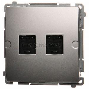 Simon Basic BM62.01/43 - Gniazdo komputerowe podwójne 2xRJ45 kat.6 z przesłoną przeciwkurzową - Srebrny Mat. - Podgląd zdjęcia nr 1