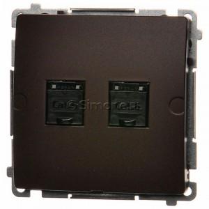 Simon Basic BM62.01/47 - Gniazdo komputerowe podwójne 2xRJ45 kat.6 z przesłoną przeciwkurzową - Czekoladowy - Podgląd zdjęcia nr 1