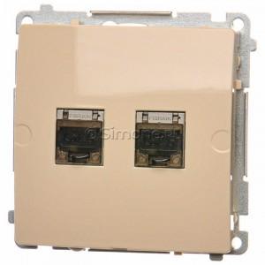 Simon Basic BM62E.01/12 - Gniazdo komputerowe podwójne 2xRJ45 kat.6 ekranowane z przesłoną przeciwkurzową - Beżowy - Podgląd zdjęcia nr 1