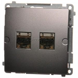 Simon Basic BM62E.01/21 - Gniazdo komputerowe podwójne 2xRJ45 kat.6 ekranowane z przesłoną przeciwkurzową - Inox Met. - Podgląd zdjęcia nr 1