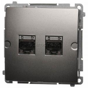 Simon Basic BM62E.01/29 - Gniazdo komputerowe podwójne 2xRJ45 kat.6 ekranowane z przesłoną przeciwkurzową - Satynowy Met. - Podgląd zdjęcia nr 1