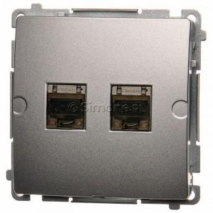 Simon Basic BM62E.01/43 - Gniazdo komputerowe podwójne 2xRJ45 kat.6 ekranowane z przesłoną przeciwkurzową - Srebrny Mat. - Podgląd zdjęcia nr 1