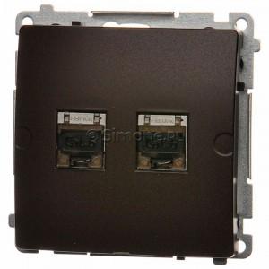 Simon Basic BM62E.01/47 - Gniazdo komputerowe podwójne 2xRJ45 kat.6 ekranowane z przesłoną przeciwkurzową - Czekoladowy - Podgląd zdjęcia nr 1
