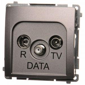 Simon Basic BMAD.01/21 - Gniazdo antenowe R-TV-DATA - Inox Met. - Podgląd zdjęcia nr 1