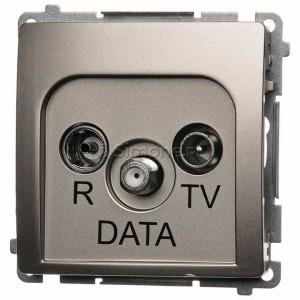 Simon Basic BMAD.01/29 - Gniazdo antenowe R-TV-DATA - Satynowy Met. - Podgląd zdjęcia nr 1
